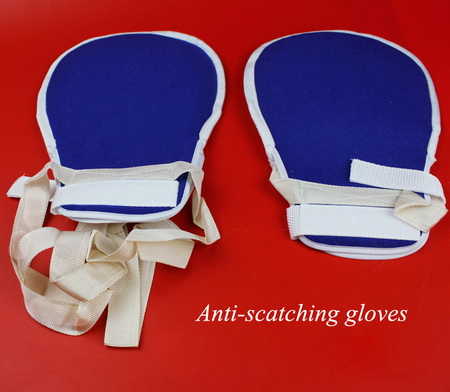 Medical use anti-scatching gloves anti-infection nursing wrist restraint autohesion gloves 2pairs/pack