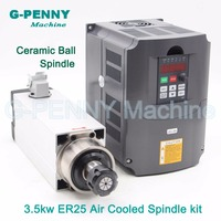 3.5kw ER25 Air Cooled Spindle 4bearings CNC square motor ceramic ball bearings high accuracy & 4.0kw VFD / inverter High Quatity