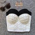 2017 Plus Size Artesanal das Mulheres Sexy Com Tiras Push Up de Luxo Pérolas Faux Cropped Top Blusas Clube Bralette Corset Bustier