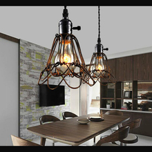Creative American country loft pendant light restaurant bedroom bar living room cafe Lamp Retro chandelier iron cage headlight