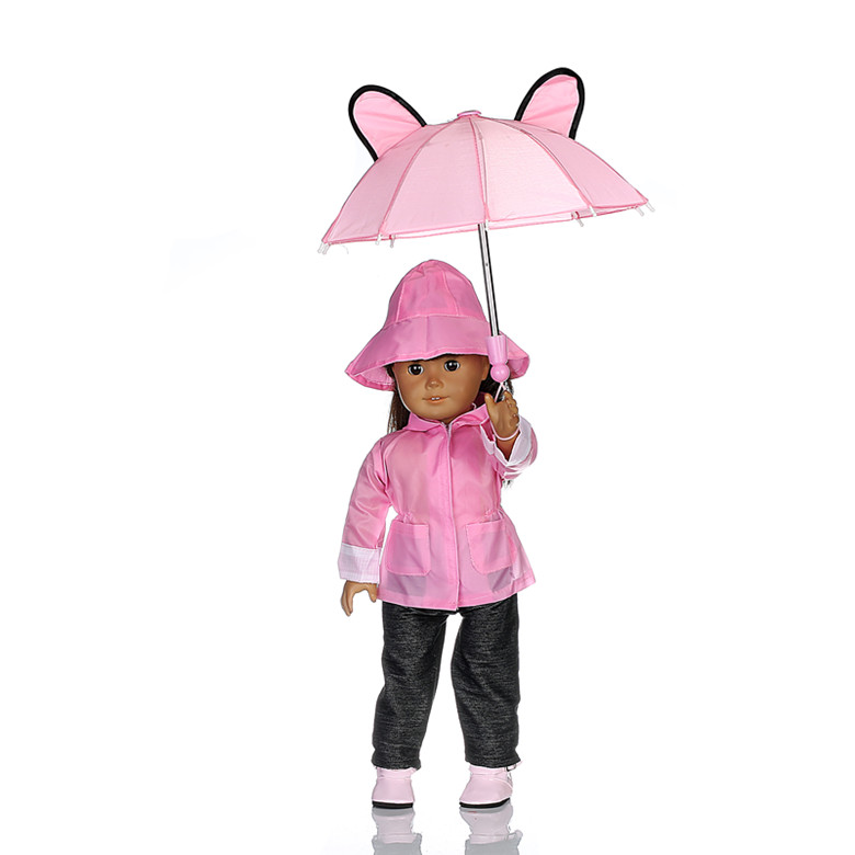 Rain Coat Doll Clothes for 18 inch American Girl Dolls:- Includes Rain Jacket, Umbrella, Boots, Hat, Pants, and Shirt b894 [mmmaww] christmas costume clothes for 18 45cm american girl doll santa sets with hat for alexander doll baby girl gift toy