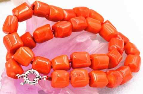 Charming! orange facets Cylinder Coral stone Necklace 17""