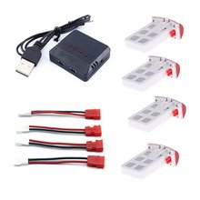 4Pcs 3.7V 400mAh Lipo Battery with 4 In 1 Battery Charger for Syma X5UC X5UW RC Quadcopter Drone Spare Parts