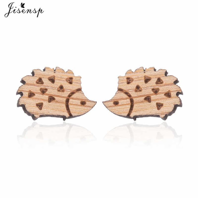 Jisensp Lovely Hedgehog Women Earrings Female Cute Animal Wooden Earrings Jewelry Studs for Girls Birthday Gifts