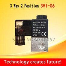 """3V1-06, 3 Way 2 Позиции пневматический соленоид клапанный канал 1/"""" Нормально закрытый пневматический управление клапан DC 12 В 24 AC 110 220"""