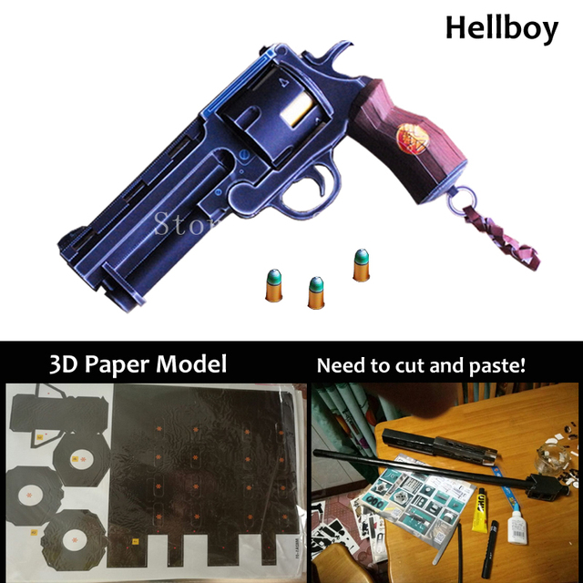 3d Paper Model 11 Hellboy Revolver With Bullets Simulation Diy