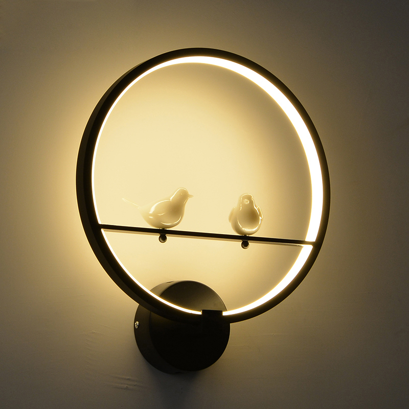 Modern creative LED wall lamp for bedroom next to two bird indoor wall living room dining hall lighting decoration creative waterproof flowers pattern wall stickers for living room bedroom decoration