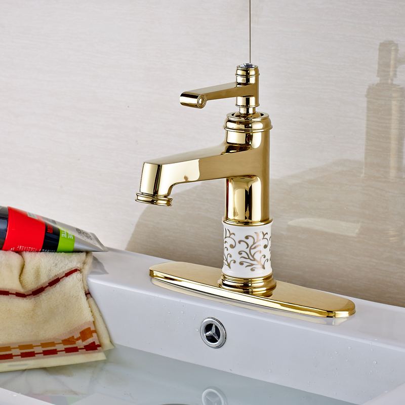 ФОТО Wholesale and Retail Gold Finished Solid Brass Bathroom Sink Faucet With Cover Plate