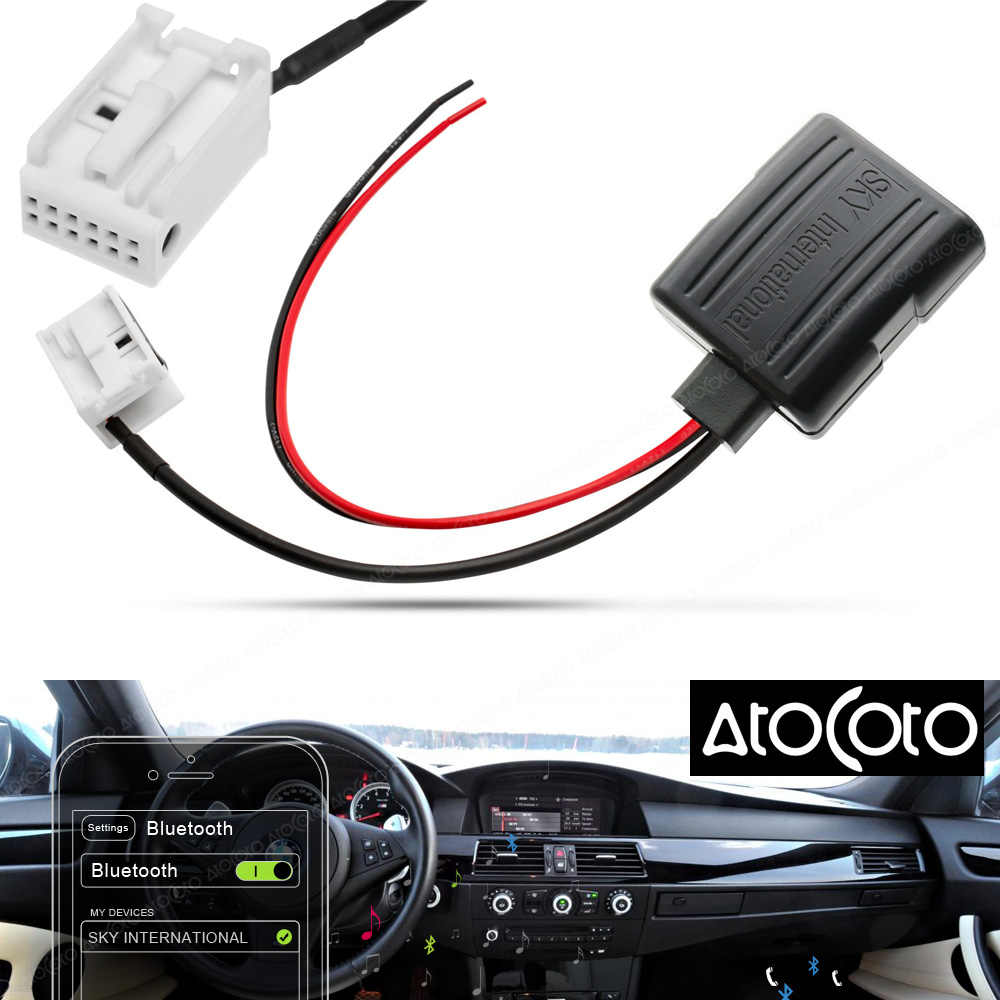 AtoCoto Car Bluetooth Aux Receiver Adapter 12 Pin Cable for