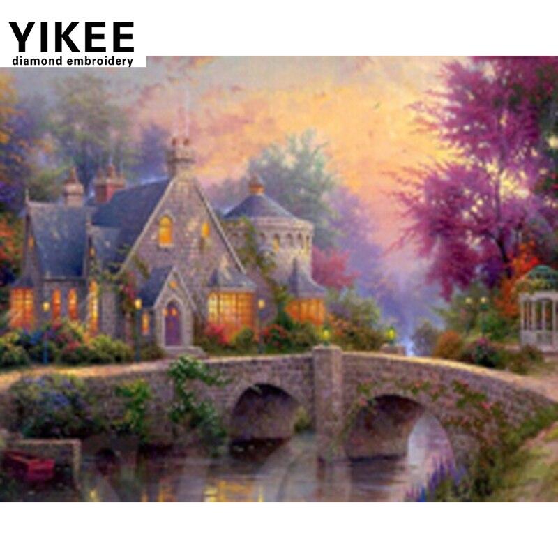 YIKEE 5d diy diamantová malba křížovým stehem, diamantová malba vesnického domu, kosočtvercová výšivka krajiny