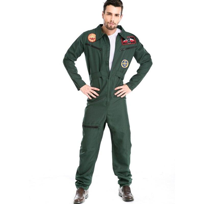 Men's Pilot Costume Male Aviator Wingman Jumpsuit Flight Suit Adult Costume CS1081