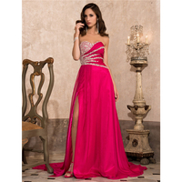 TS Couture A Line Princess Strapless Sweetheart Court Train Chiffon Formal Evening Military Ball Dress With