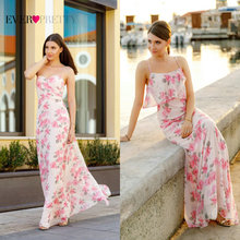 Ever Pretty Design Chiffon Flower Printed Bridesmaid Dresses 2018 Girl tak bertali bahu Gaya Pantai Wedding Guest Dress Long EP07237