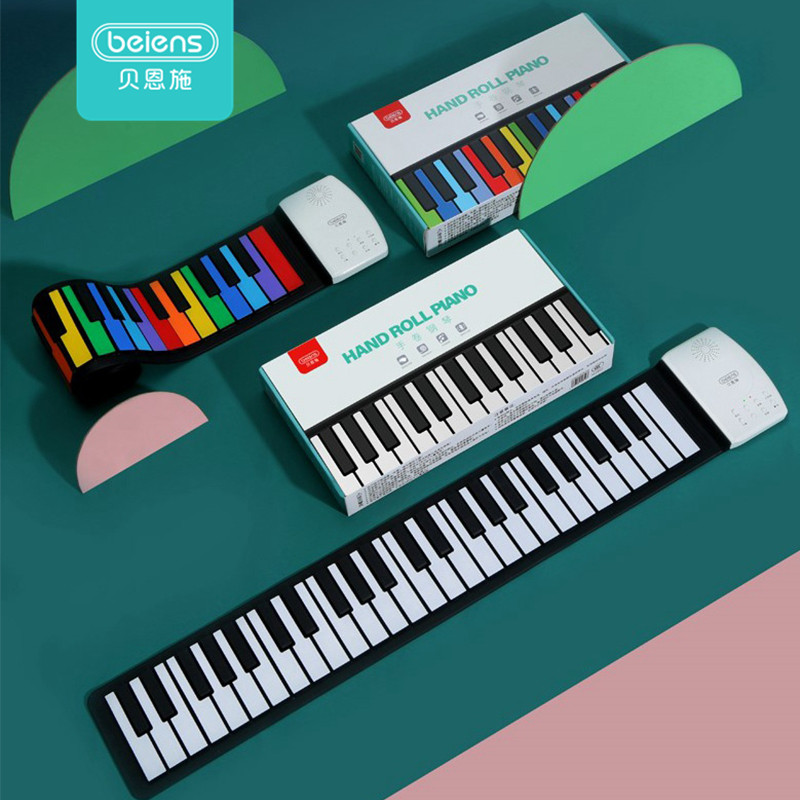Beiens Portable 49 Keys Digital Keyboard Roll Up Piano Silicone Electric Hand Piano Gift for Kids Child Toy Musical Instruments