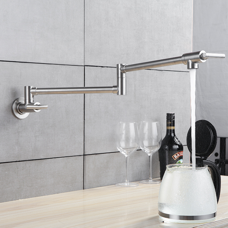 fapuly kitchen tap wall mounted pot filler faucet double joint spout brushed nickel mixer taps single