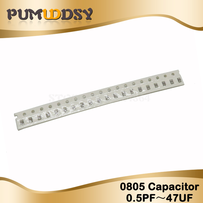 100pcs <font><b>0805</b></font> 0.5pF-47uF <font><b>smd</b></font> <font><b>capacitor</b></font> ceramic 22pf 100nf 1uf 2.2uf 4.7uf 10uf 47uf 22uf <font><b>capacitors</b></font> kit sets image