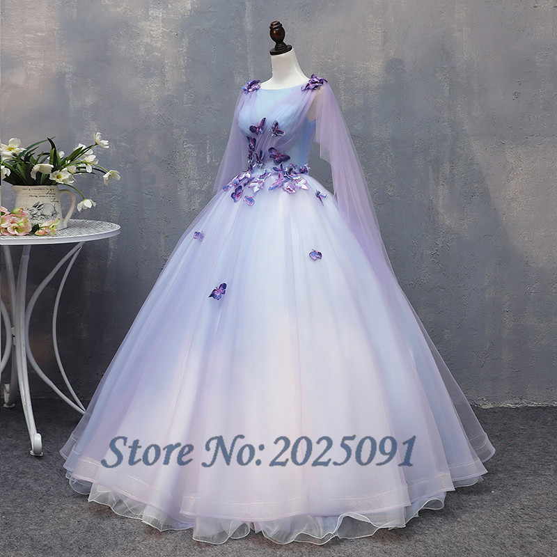 Hot Sale Lilac Ball Gown Quinceanera Dresses 2019 Long Prom Gown Lace Flower Beaded Puffy Sweet 16 Dress For 15 Years