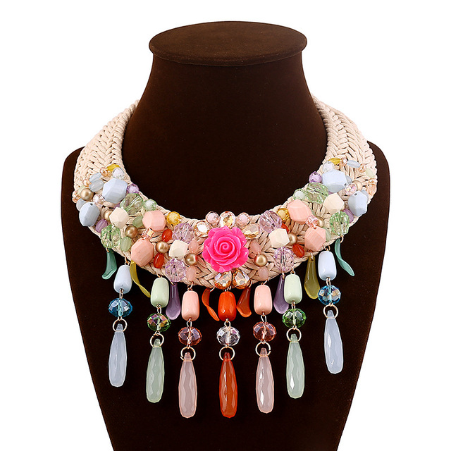 Handmade woven rope flower Acrylic crystal beads necklace fashion women stament chocker necklace