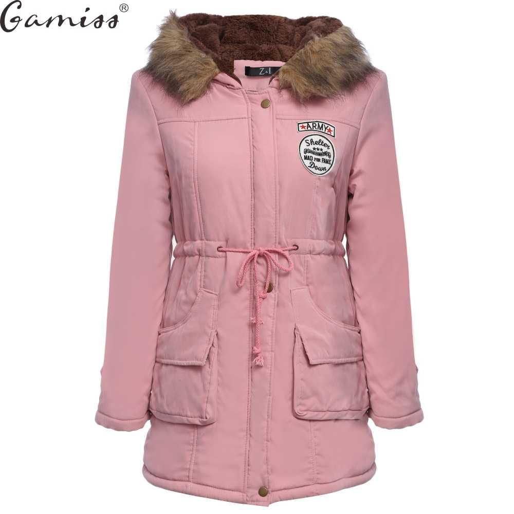 Gamiss 2017 冬プラスサイズパーカージャケット付き長袖ジッパー巾着タイプの女性の暖かい生き抜く