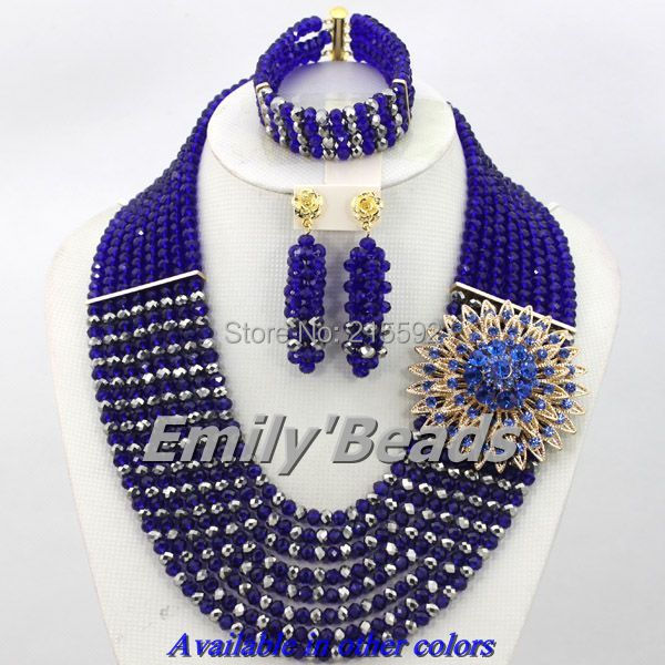 2016 Latest Nigerian Wedding African Beads Jewelry Set Royal Blue Costume Crystal Beads Jewelry Necklace Set