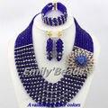 2016 mais recente casamento nigeriano Beads africanos Set jóias azul AJS809 traje contas de cristal Set jóias colar navio livre