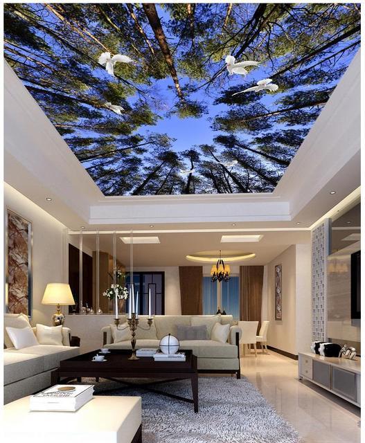 Blue sky grenen duiven woonkamer slaapkamer plafond zenith behang ...