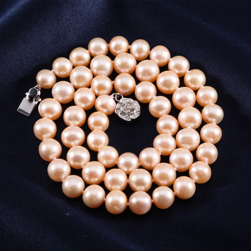 ZHIXI Freshwater Pearl Necklace Fine Jewelry Round Natural Pearl Necklace Women Pink Stone Collar New Party Gift [xj1011] цены онлайн