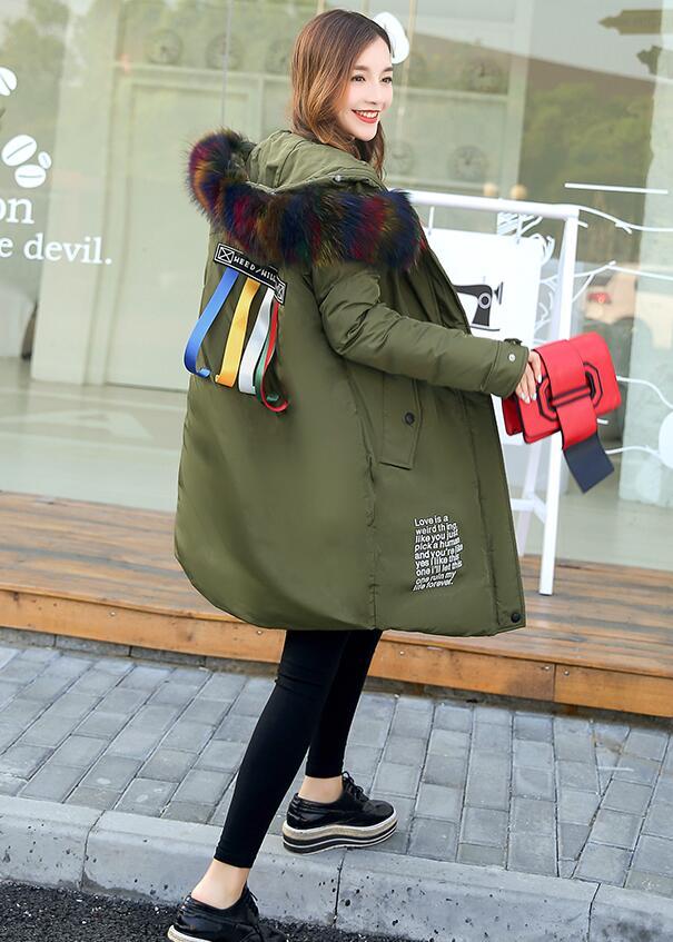 Marque Black Chaud D'hiver À Parka Street Rlyaeiz Style Parkas Green 2017 Manteau Outwear Col Nouvelle Longue Veste Capuchon Fourrure Femmes Grand army De Épais Faux qwxBIx