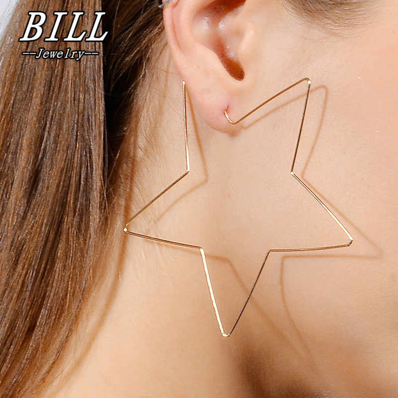 ES541 Big Star Shaped Stud Earrings Simplicity Handmade Copper Wire Earring for Women Brincos de gota Feminino 2018 Geometric