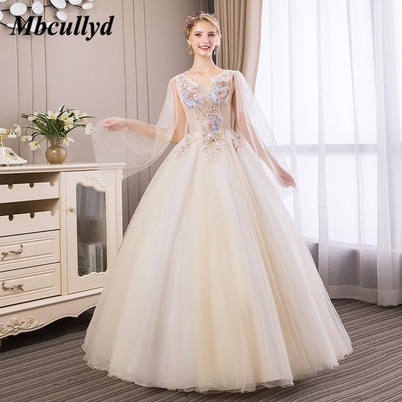 Mbcullyd robe De bal Quinceanera robes 2019 nouveau Sexy col en v Tulle Vestidos De 15 Anos Debutante pas cher grande taille douce 16 robe