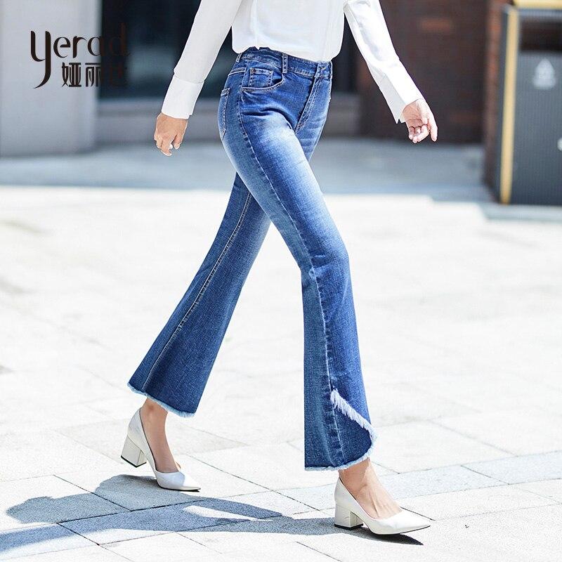 Pantalones Cintura Elegante Primavera Vaqueros Jeans Mujeres De Yerad Flare Denim Dama Alta Xnvqx1Cx84