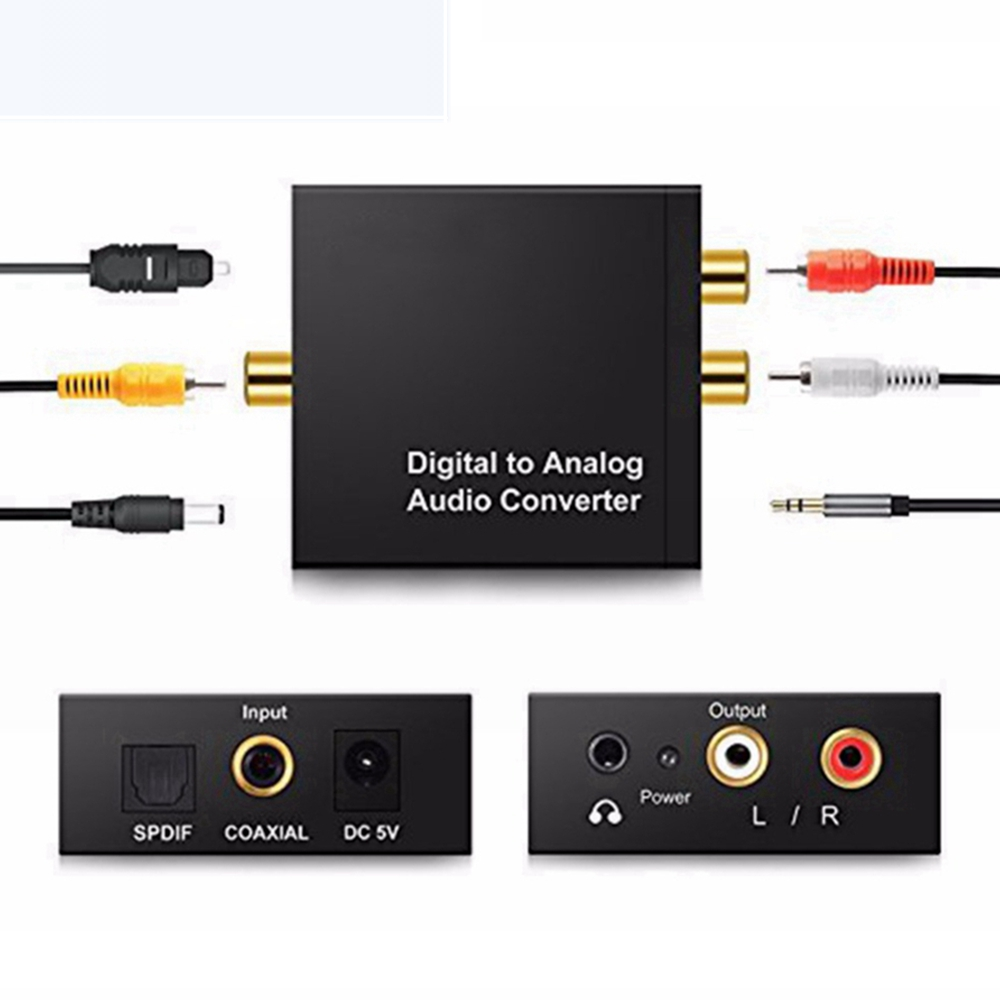 3.5mm Jack To 2RCA Toslink Coaxial Optical Digital Fiber To Analog Audio AUX L/R Converter SPDIF Digital Audio Decoder Amplifier
