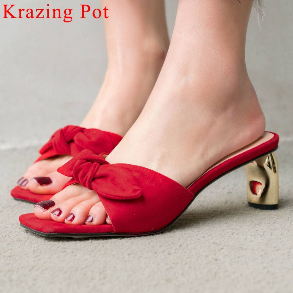 2019 Summer brand peep square toe metal med heels genuine leather classic butterfly knot decoration slip