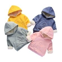 Одежда для маленьких девочек и мальчиков; зимняя плотная теплая детская толстовка; повседневные толстовки с капюшоном для маленьких девочек; Детские Бархатные Топы; костюм