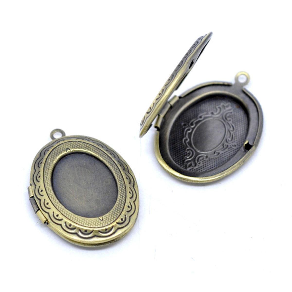 CNIM Hot 5 Medallion Oval Pendants 34x24mm Bronze Color Photo Holder
