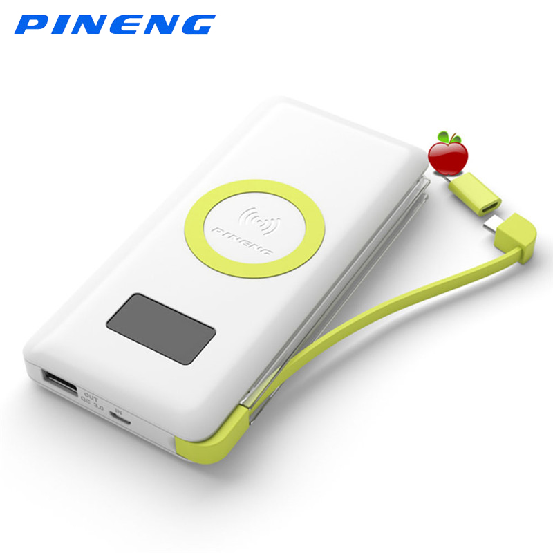 imágenes para PINENG 10000 mAh Batería Externa de Carga Inalámbrica Rápida Portátil Banco Pover Luz Incorporada Con QC3.0 Estándar Para Elephone s8