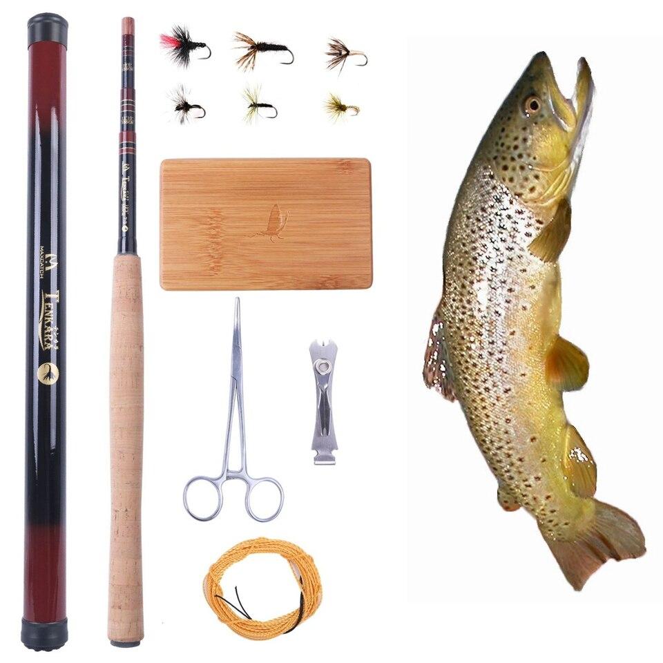 Maximumcatch Tenkara Rod Combo 12FT Fly Rod Telescoping Fishing Pole & Line & Fly & Box bernardelli mega combo 12 76