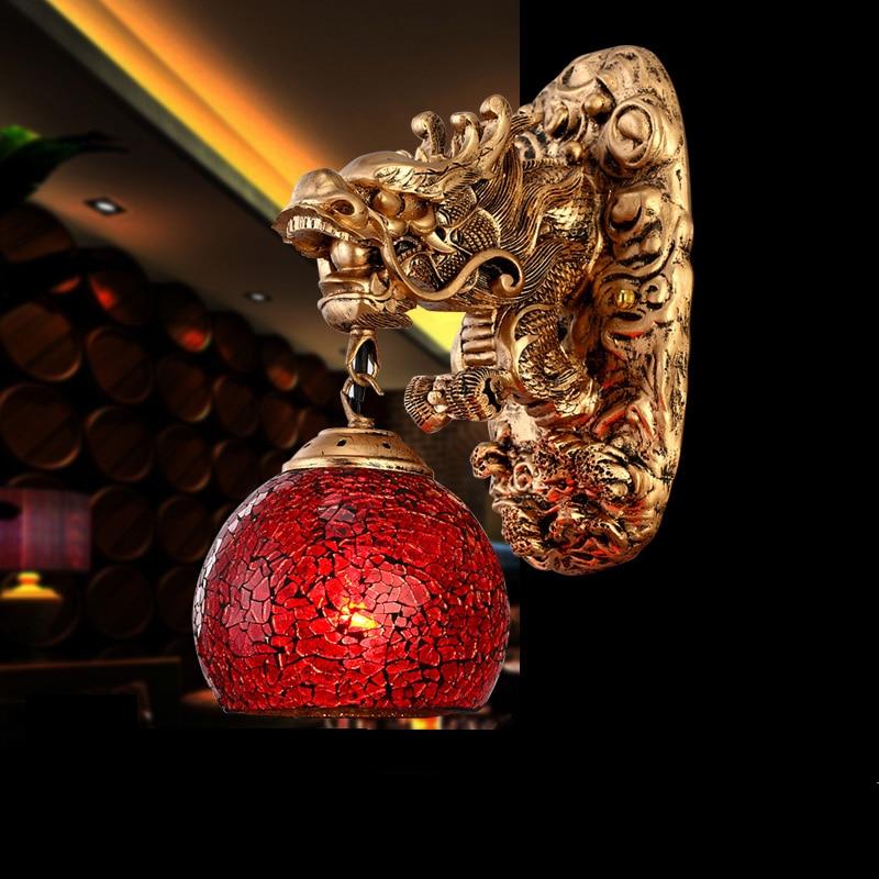 Wunderland Wandleuchten China Dragon Leistungsstarke Kunst Wandleuchte Wohnzimmer Luxus haus Dekoration Beleuchtung Wand Led lampe Treppen Rohr - 2