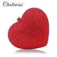 Luxury Red Heart Shape Crystal Women Clutch Bag Rhinestone Evening Bag Party Purse Heart Shaped Diamond Ladies Wedding Bag