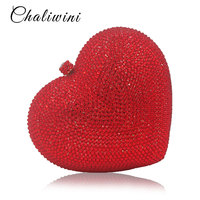 Luxury Red Heart Shape Crystal Women Clutch Bag Rhinestone Evening Bag Party Purse Heart Shaped Diamond Ladies Wedding Bag