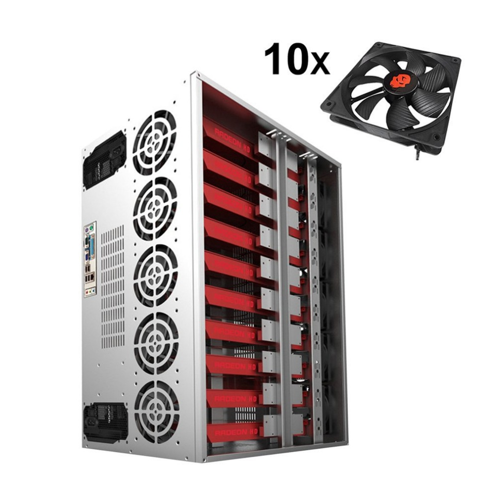 Crypto Coin Open Air Mining Frame Rig Graphics Case ATX Fit 12 GPU Ethereum ETH ETC ZEC XMR Magnalium Alloy 10 Fans