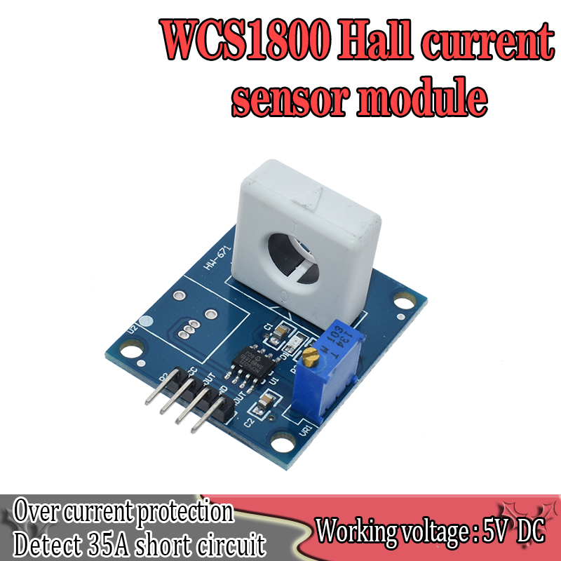 WAVGAT DC 5V WCS1800 Hall Current Detection Sensor Module 35A Precise With Overcurrent Signal LampWAVGAT DC 5V WCS1800 Hall Current Detection Sensor Module 35A Precise With Overcurrent Signal Lamp
