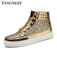 Tangnest Luxury Brand Men Shoes 2017 Fashion Sequined Toe Men Boots Bling Side Zip High Top