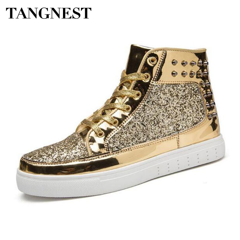 bfc2363f67a9b Tangnest Luxury Brand Men Shoes 2018 Fashion Sequined Toe Men Boots Bling  Side Zip High Top Shoes Man Casual Flat Shoes
