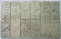 Free shipping 12Pcs Old Chinese Twelve Zodiac Miao Silver Bullion thanka statue/Sculpture amulet