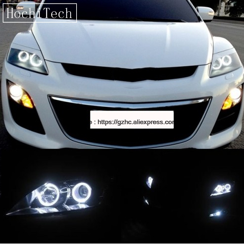 HochiTech For Mazda CX-7 2006-2012 Ultra Bright Day Light DRL CCFL Angel Eyes Demon Eyes Kit Warm White Halo Ring Car-styling hochitech white 6000k ccfl headlight halo angel demon eyes kit angel eyes light for vw volkswagen golf 5 mk5 2003 2009