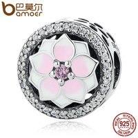 BAMOER Genuine 925 Sterling Silver Magnolia Bloom Pale Cerise Enamel Pink CZ Beads Fit Bracelets Bangles