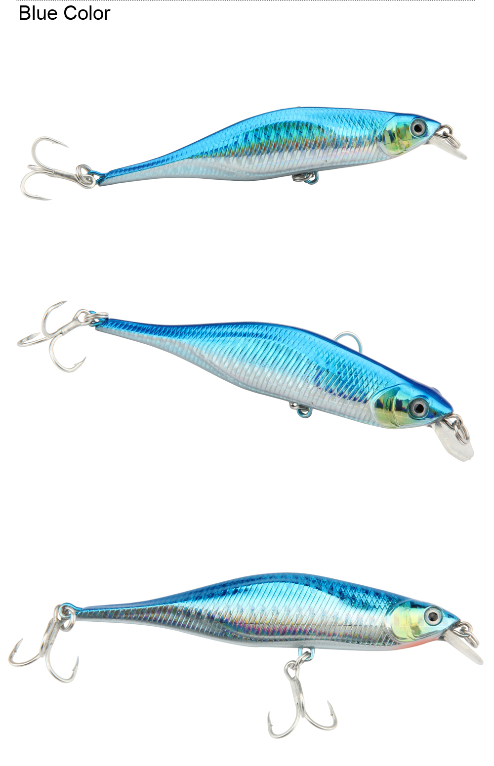 5pcsLot 11cm11g Mixed Colors ABS Minnow Fishing Lure Swimbait Crankbait Rigged With 2pcs High Carbon Steel Sharp Treble Hooks (6)