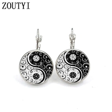 New / hot sale, yin and yang earrings, ladies jewelry round crystal dome earrings. wholesale недорого