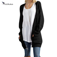 FLYMALL 2017 Women Long Cardigans Autumn Winter Open Stitch Poncho Knitting Sweaters Casual V Neck Oversized